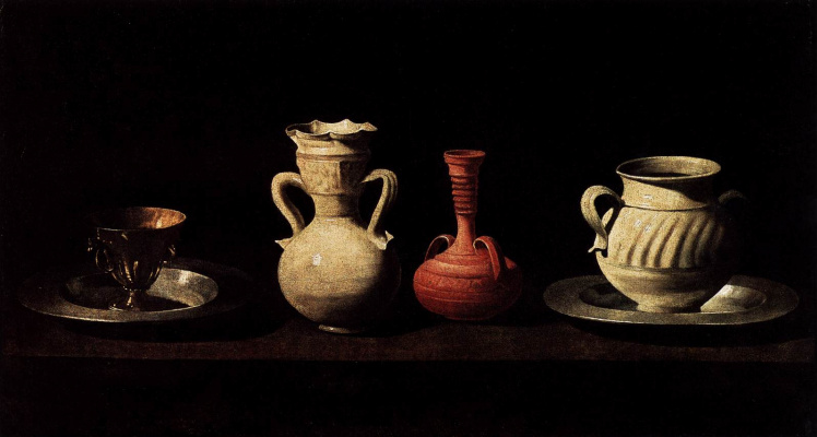 Francisco de Zurbaran. Still life with four vessels