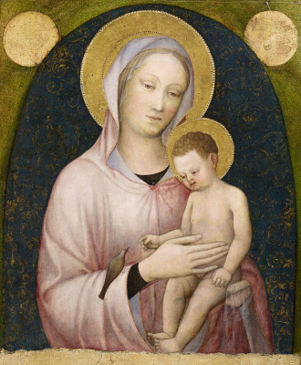 Jacopo Bellini. Madonna with baby and bird