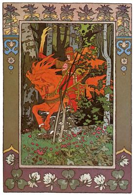 "Ivan Yakovlevich Bilibin. The red rider. Illustration to the fairy tale ""Vasilisa the Beautiful"""
