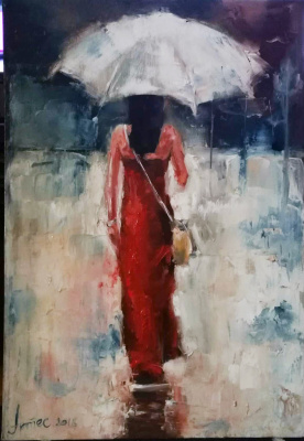Olga Yuryevna Serebrova-Artes. Lady in Red