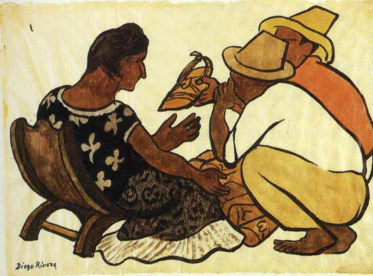 Diego Maria Rivera. Selling shoes