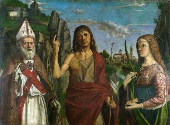 Бартоломео Монтанья. Санкт Зенон, святой Иоанн Креститель и мученица женщина