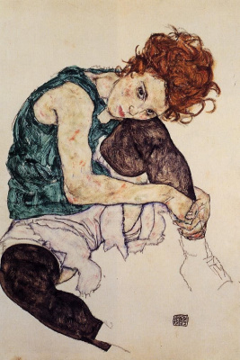 Egon Schiele. Woman sitting with the knee bent