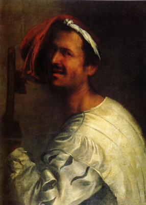 Giorgione. Portrait of a musician with a flute