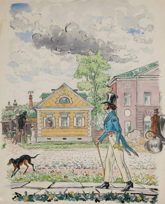 Vladimir Alexeyevich Milashevsky. Pushkin, walking along the Old Basman. Illustration for the story by A.S. Pushkin's The Undertaker