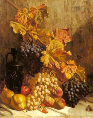 Натюрморт с виноградом. Груши, персики.