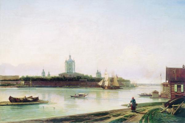 Alexey Petrovich Bogolyubov. View of the Smolny Monastery from Bolshaya Okhta