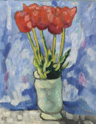 Луи Вальта. Тюльпаны в голубой вазе