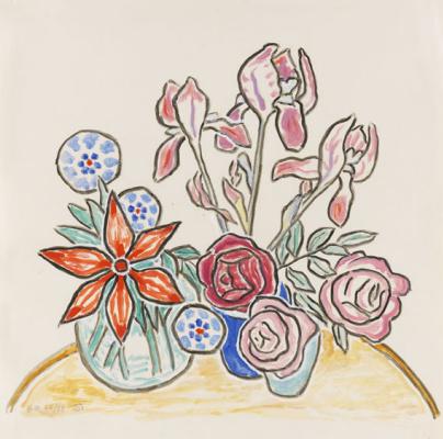 Красные георгины, розы и ирисы