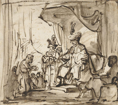 Karel Fabricius. The servant reaches out to David the crown of Saul. Sketch