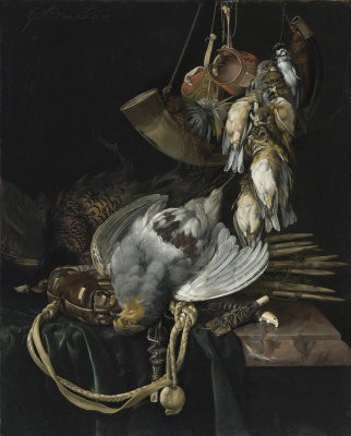 Willem van Aelst. Still life with game, birds singing, mountain and hunting accessories