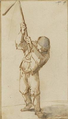 Adrian Jans van Ostade. The farmer with threshing machine (Thresher)