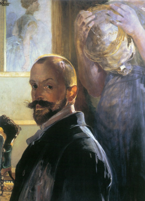 Jacek Malchevsky. Self portrait with skull