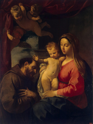 Симоне Кантарини. Мадонна с Младенцем и Святым Франциском