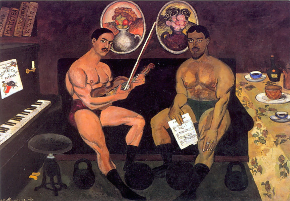 Ilya Ivanovich Mashkov. Self portrait and portrait of Pyotr Konchalovsky