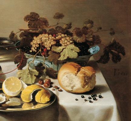 Питер Клас. Натюрморт с лобстером, кувшином, скрипкой, лимоном и ягодами. Фрагмент 3. Ваза со смородиной, хлеб и лимон