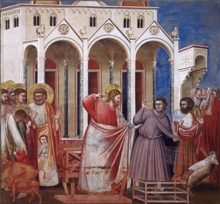 Giotto di Bondone. Expulsion of merchants from the temple. Scenes from the life of Christ