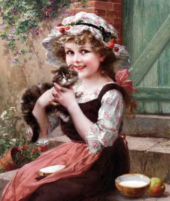 Emile Vernon. Little kittens. 1919
