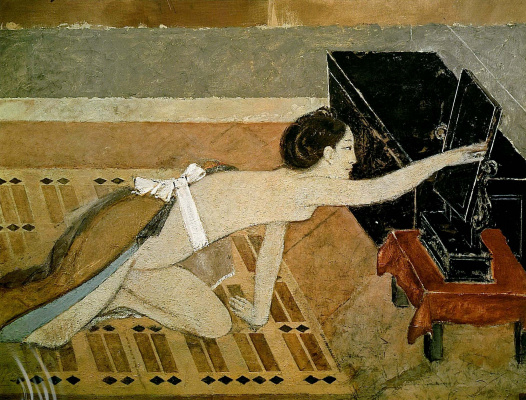 Balthus (Balthasar Klossovsky de Rola). Japanese girl in black mirror