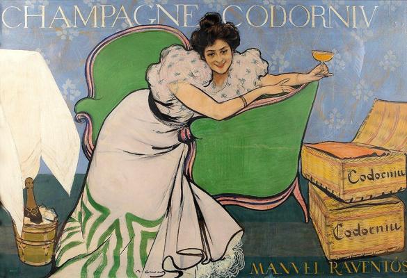 Ramon Casas i Carbó. Lola Plamy. Codorniu Champagne Advertising