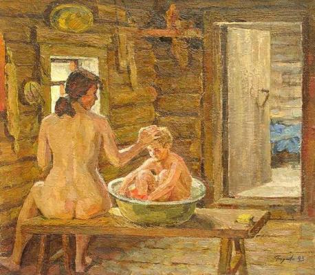 Валерий Васильевич Родионов. В бане. 1993