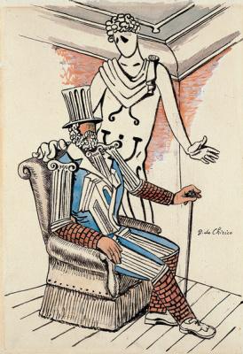 Giorgio de Chirico. Sketch of the cover of the souvenir program of the Russian ballets of 1929