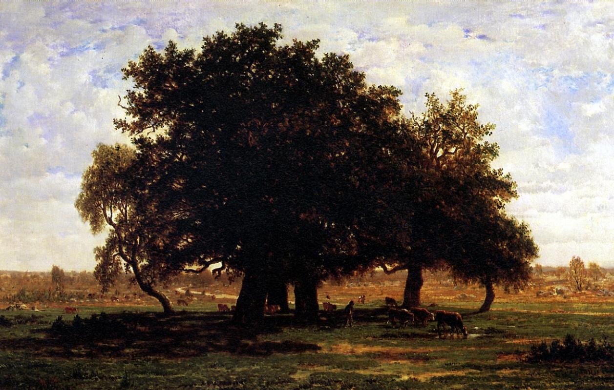 Теодор Руссо. Группа дубов в лесу Фонтенбло