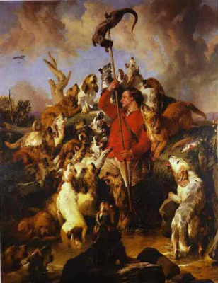 Edwin Henry Landseer. Hunting for otters. Victorian painting