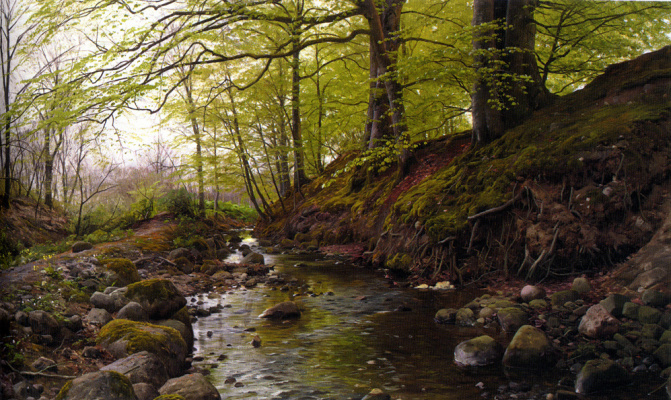 Peder Mørk Mønsted. Stream in the forest