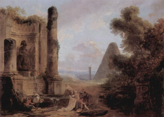 Hubert Robert. Imaginary view of the pyramid of Cestius in the background the ruins of the temple