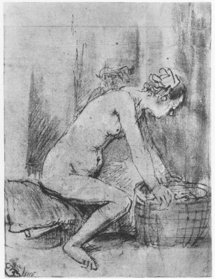 Rembrandt Harmenszoon van Rijn. Nude in profile, resting her hands on the cart, and the man's head in the background