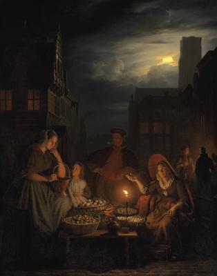Petrus van Shendel. The evening trade. 1845