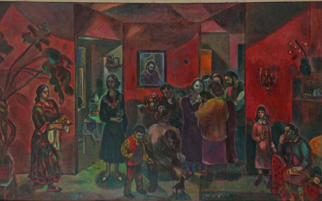 Gennady Aleksandrovich Glakhteev. In the red room