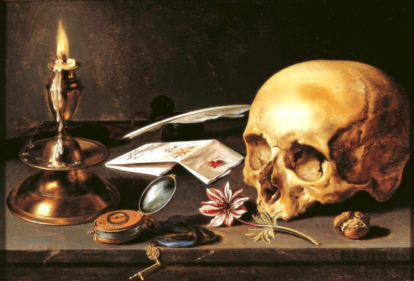 Peter Class. Vanitas. Still life with skull and candle