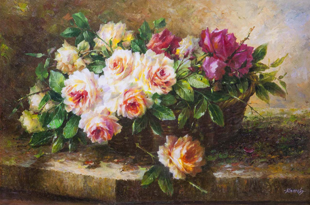 Saveliy Kamsky. A bouquet of roses in a basket