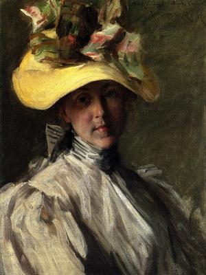 Уильям Меррит Чейз. Женщина в большой шляпе
