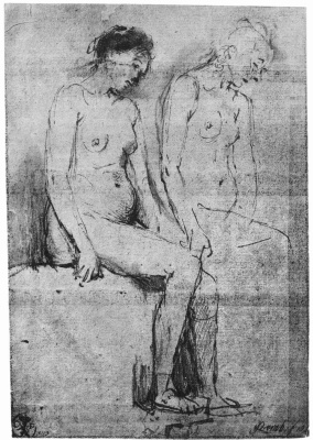 Rembrandt Harmenszoon van Rijn. Sketch of two Nudes in semi-profile