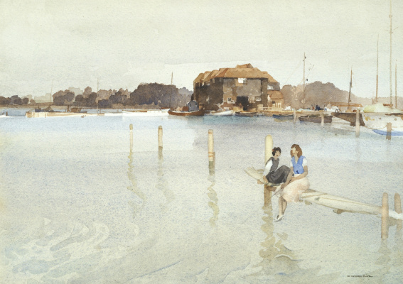 William Russell Flint 1880 - 1969 Scotland. Windmill Mill and Yacht Bay.