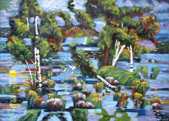 Alexander Nikolaevich Bezrodny. The lake.Vuoksa.Islands