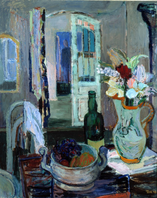 Tove Jansson. Still life with fruit and flowers on the background of an open door