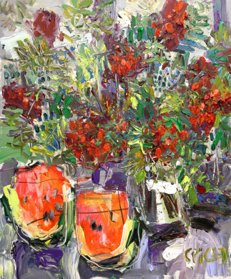 Ilya Pavlovich Spichenkov. Rowan bouquet with watermelon