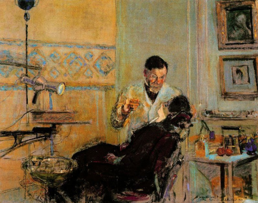 Jean Edouard Vuillard. Dr. Georges VIO in his office with the patient Annette Roussel
