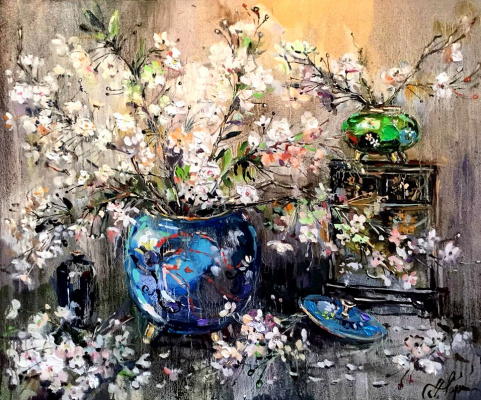 Anna Anatolyevna Charina. Still life with Japanese vases