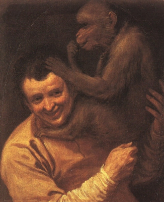 Annibale Carracci. A young man with a monkey