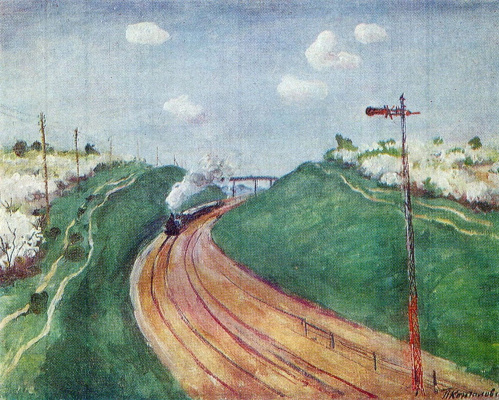 Petr Petrovich Konchalovsky. Spring landscape with train