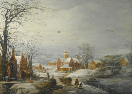 Jan Bruegel The Elder. Winter landscape with travelers. (joint with Jos de Momper Jl)