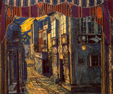 "Alexander Yakovlevich Golovin. The street in front of the home of Dr. Bartolo. Design for the Opera G. Rossini ""Il Barbiere di Siviglia"""