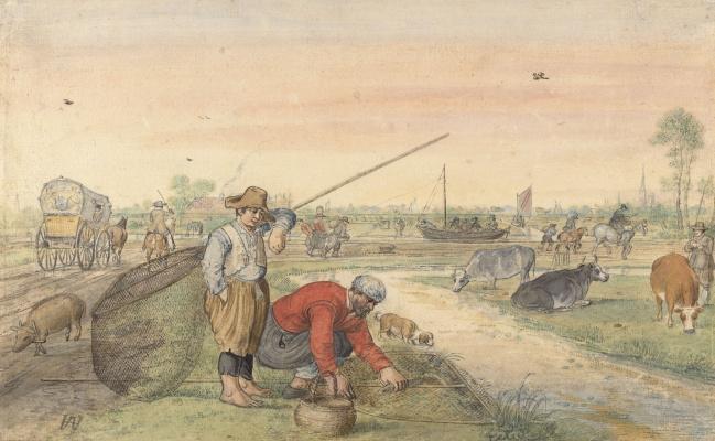 Hendrik Avercamp. Fishermen with nets on the river
