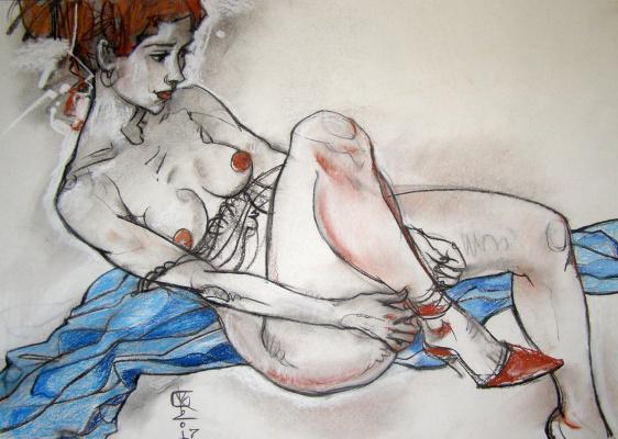 Vitaliy Viktorovich Kotenji. Nude with blue drape
