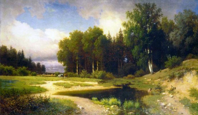 Lev Lvovich Kamenev. Savina Sloboda near Zvenigorod. Rain